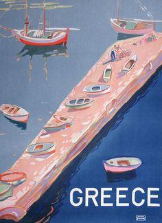 Greece - Aegean Island Jetty by unknown artist, 1948