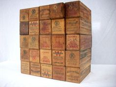 Wonderful Old Printed Wood Cheese Boxes from a 100 yr old Hardware Store that has recently closed. They were originally used to transport blocks or bricks of cheese.