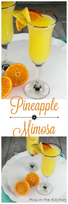 Pineapple Mimosa Brunch Cocktail Recipe from http://MissintheKitchen ...