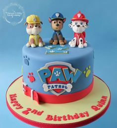 Paw Patrol Cake With hand modelled figures. Bolo Do Paw Patrol, Torta Paw Patrol, Paw Patrol Cake Toppers, Paw Patrol Birthday Cake, 3rd Birthday Cakes, Paw Patrol Party, 4th Birthday, Pastel Paw Patrol, Character Cakes