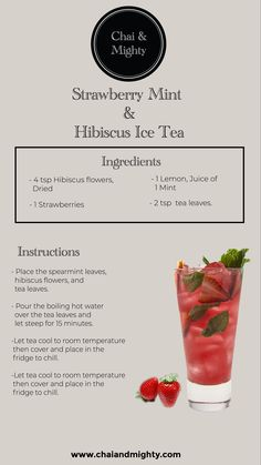 Wouldn't you enjoy a cool, fruitful flavour of tea on a hot and summery day. The strawberry mint and hibiscus ice tea is very easy to make, it has hints of hibiscus and the refreshing flavour of strawberry with lemon and mint that will soothe your palate. Yummy Drinks, Healthy Drinks, Best Tea Brands, Herbal Tea Benefits, Bistro Food, Iced Tea Recipes, Hibiscus Tea, Mouth Watering Food, Starbucks Drinks