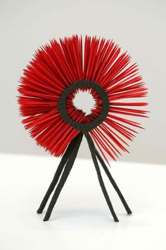 Spikey Lad, ebonised oak with dyed red spikes, 2004, Height: 29.5cm, Width with spikes 20.5cm, Depth: 8.8cm,