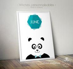 Affiche Panda Prénom Garçon [à personnaliser]