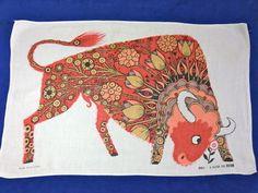 Bull tea towel for Oxfam