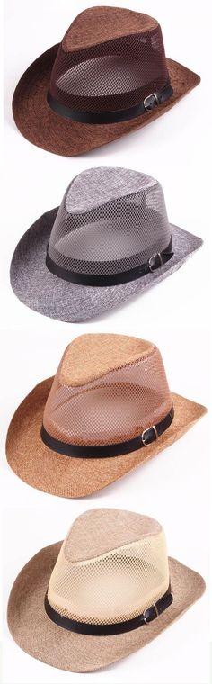 66a2f74156a4cf Men Hollow Out Mesh Top Hat Wide Brim Casual Braid Fedora Beach Sun Flax  Panama Jazz