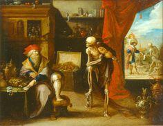 La mort invite le vieillard à une dernière danse - peinture sur cuivre, 1635,