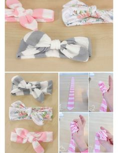 15 DIY Headband Ideas Great ideas to create your own cute headbands!}, http_status: DIY Headband Ideas - dress up a messy up-do by accessorizing with a cute DIY Headband Ideas - from a simple knotted strip of fabric, to a crochete Diy Baby Headbands, Baby Bows, Baby Headband Tutorial, Headband Baby, Little Girl Headbands, Knotted Headband, Turban Headbands, Headband Pattern, Baby Girl Shower Themes