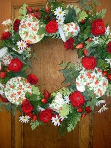 Strawberries and Tea Cup Wreath for Mother's Day