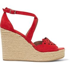 Tabitha Simmons - Clem Laser-cut Suede Wedge Sandals ($298) ❤ liked on Polyvore featuring shoes, sandals, red, strap sandals, wedge sandals, red suede sandals, red strappy sandals and platform shoes