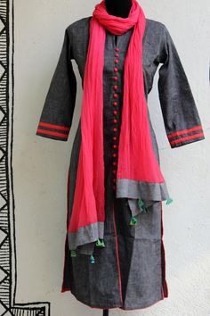 Long Kurtas with Contrast Dupattas from MaatiCrafts www.yarnstyles.com