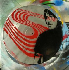 Elliott Smith Simple Figure 8 Spray-Painted on Record (Vinyl) BUY any 3 RECORDS get a 4th FREE. $25.00, via Etsy.