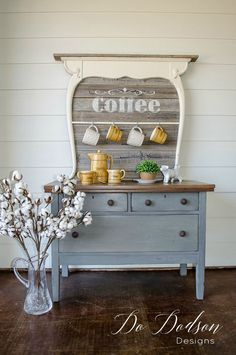 Diy farmhouse style coffee bar repurposed from a vintage washstand.