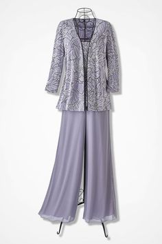 Chiffon Pants by Alex Evenings, Pale Lavender Wedding Pants Outfit, Wedding Pantsuit, Mother Of Groom Outfits, Mother Of The Bride Suits, Mob Dresses, Fashion Dresses, Dressy Pant Suits, Grandma Dress, Chiffon Pants