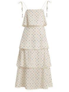 Redirecting you to MATCHESFASHION for Zimmermann Polka-dot print linen and cotton-blend dress. White Scalloped Dress, White Polka Dot Dress, White Dress, Kpop Fashion Outfits, Girls Fashion Clothes, Clothes For Women, White Embroidered Dress, Embellished Dress, White Embroidery