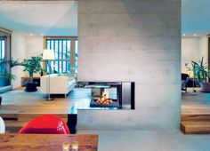 Fireplace insert double face: 50 ideas of interior decoration - Fireplace Inserts, Fireplace Mantels, Fireplace Ideas, Insert Double Face, Double Sided Fireplace, Marble Fireplaces, Open Plan Living, Foyer, Interior Decorating