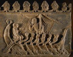 ROMAN RELIEF 1ST-3RD CE Ulysses barge passing the Sirens island south of Capri, Italy. Terracotta bas-relief 32.5 x 40.5 cm Campana Collection - S 747 Louvre, Departement des Antiquites Grecques/Romaines, Paris, France