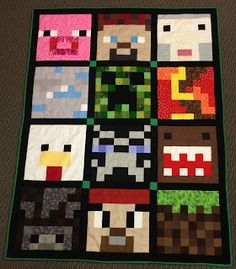 Luv in Stitches: Completed Minecraft Quilt