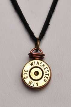 Second Amendment Winchester 308 Bullet Casing Necklace on Black Leather cord, Men bullet necklace