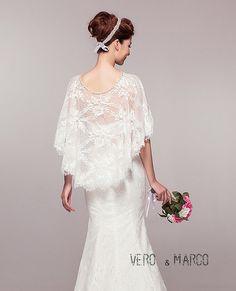 Ivory Romantic Alencon lace bridal capelet lace cloak wedding cape cover up Bolero Schrug