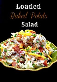 """Like this recipe? """"Pin it"""" by clicking the photo above!! This Loaded Baked Potato Salad recipe is AMAZING!! It's so yummy, and it's perfect for bbq's and summer meals! I made this for Memorial Day weekend and there were no leftovers! Even the kids scarf it down, but maybe that's because I used an …"""