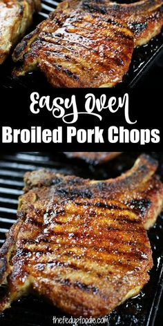 Tender and Juicy Pork Chops in the Oven. #HowLongToBroilPorkChops #PorkChopRecipes #PorkChopRecipesBaked #PorkChopsInTheOven #BroiledPorkSteaksInOven #BroiledPorkChopsBoneIn Pork And Beef Recipe, Pork Chop Recipes, Meat Recipes, Real Food Recipes, Oven Pork Chops, Lunch Recipes, Easy Dinner Recipes, Easy Meals, Kitchens