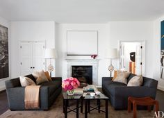 Contemporary Living Room by Waldo& Designs and Rios Clementi Hale Studios in Los Angeles, California White Fireplace, Living Room With Fireplace, Modern Floor Lamps, Cool Floor Lamps, Architectural Digest, Living Room Lighting, Living Room Decor, Palazzo, Contemporary Living