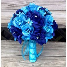 Malibu Blue Bouquet, Bridal Bouquet, Royal Blue Bouquet, Turquoise... ($399) ❤ liked on Polyvore featuring flowers, weddings, backgrounds and random