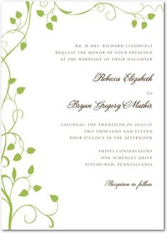 Signature White Textured Wedding Invitations Storybook Vine - Front : Meadow