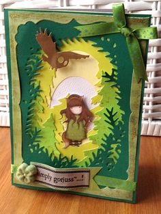 Shadow Box die demo project (Xcut build a scene die cut set - woodland) and gorjuss doll