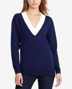 Lauren Ralph Lauren Relaxed V-Neck Sweater - Navy XS