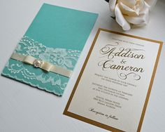 ADDISON   Lace Pocket Wedding Invitation   Antique Gold And Aqua/Turquoise  Pocket Invitation With Ivory Lace, Ivory Ribbon, And Pearl Button