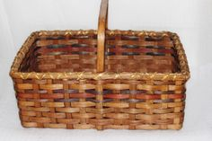 Vintage woven Large Handled Basket, Storage, Meals to Go, Holiday Basket, Spring Flower Basket, Nice, by QUEENIESECLECTIC on Etsy