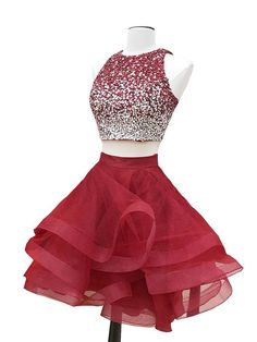 Two Pieces Homecoming Dress A-line Straps Burgundy Organza Short Prom Dress SKA088