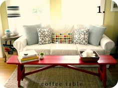 love this bench as a coffee table.  and i happen to have one just like it!