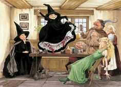 terry pratchett witches (Witches Abroad -Discworld the disapproving Granny Weatherwax, life of the party Nanny Ogg-with red boots, and the horrified innocent, Magrat Garlik. Wyrd Sisters, Terry Pratchett Discworld, Creepy Pictures, Witch Pictures, Tumblr, Halloween Art, Vintage Halloween, Wiccan, Witchcraft