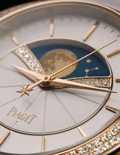 Piaget Limelight Stella Astronomical Moon Phase - two rows of diamonds cradle the moon-phase indication of this new watch. Shown in rose gold with diamonds.