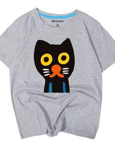 Black cat t shirts for teenage girls cute animal tops short sleeves