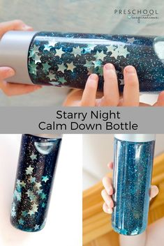 Calm down jars are wonderful tools to teach self-regulation at all ages! These mesmerizing glitter jars are perfect for a preschool space or galaxy theme. Plus, with only 3 ingredients, they're guaranteed to be the easiest sensory bottles you ever make! Calm Down Jar, Calm Down Bottle, Baby Sensory, Sensory Bins, Sensory Bottles Preschool, Sensory Bottles For Toddlers, Sensory Play, Toddler Crafts, Toddler Activities