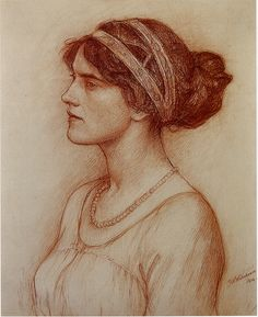John William Waterhouse study of Marchioness of Downshire 1914