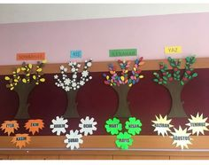 Concept of seasons. Preschool Education, Preschool Art, Kindergarten Activities, Activities For Kids, Diy Calendar, School Calendar, Class Decoration, School Decorations, Classroom Birthday