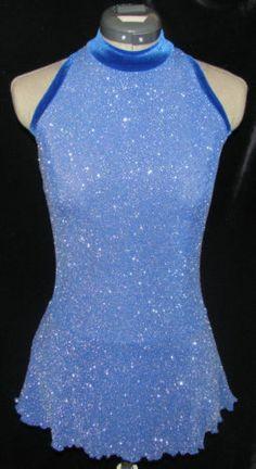 Royal Blue with Silver Sparkle Ice Figure Skating Dress Girls Large 12 14 | eBay