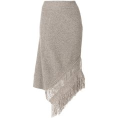 Stella McCartney asymmetric fringed skirt ($363) ❤ liked on Polyvore featuring skirts, brown, brown fringe skirt, stella mccartney skirt, asymmetric hem skirt, asymmetrical skirts and stella mccartney