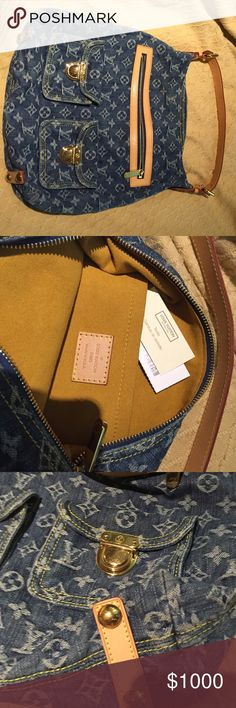 Louis Vuitton denim monogram bag. LIKE NEW FINAL MARKDOWN!!! Like new!!! Louis Vuitton denim monogram bag. In fantastic condition!! Only used it once. Zipper & buckle pockets. Authentic bag. No box. Louis Vuitton Bags Shoulder Bags