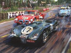 """Le Mans, 1953"" by Nicholas Watts. The 2nd placed Jaguar C-Type of Stirling Moss and Peter Walker exits the Esses and lines up for Tertre Rouge."