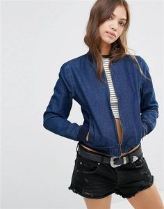 We love this denim bomber jacket from ASOS. You can wear it with your favorite dresses this fall.