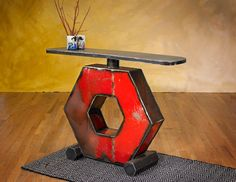 Hexagon Console Table Made with Reclaimed Farm Machinery by TheSteelFork on Etsy