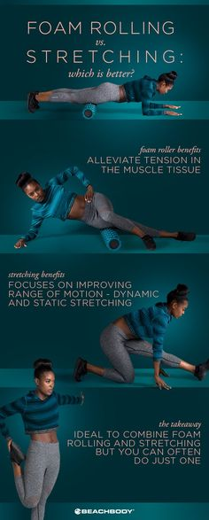 Foam rolling or stretching, which is best for you? Check it out. best stretches // at home stretches // how to foam roll // Beachbody // Fitness Tips // #foamrolling #fitnesstips #stretching #fitness #beachbody