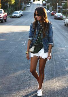 camo tee // jean jacket // white shorts // white chucks