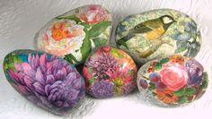Tutorial: Blooming Rocks, decoupaged rocks by Laura Kirste Campbell