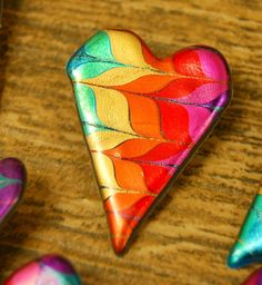 Rainbow Heart Pin swirled friendly plastic by JustPlainJane, $3.00